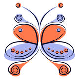 Vector illustration of colorful red and blue cartoon butterfly, Stock Photos