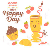 Vector illustration of colorful red and yellow breakfast theme s Royalty Free Stock Image