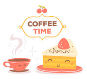 Vector illustration of colorful red and yellow coffee theme smil Stock Image
