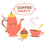 Vector illustration of colorful red and yellow coffee theme smil Royalty Free Stock Image