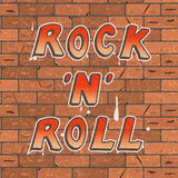 Vector illustration of a colorful red and yellow lettering on a brown brick wall rock n roll.  Stock Illustration