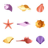 Vector illustration of colorful shells icon set. Vector illustration of colorful tropical shells icon set Royalty Free Stock Images
