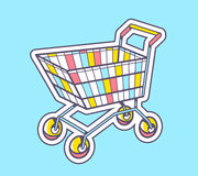 Vector illustration of colorful shopping trolley top view Stock Photos