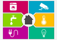 Vector illustration of colorful smart home automation screen. Stock Photography