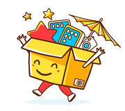 Vector illustration of colorful smile character shopping box wit Stock Photos