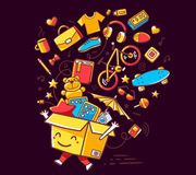 Vector illustration of colorful smile character shopping box wit Royalty Free Stock Photo