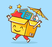 Vector illustration of colorful smile character shopping box wit Stock Photography