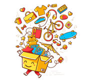 Vector illustration of colorful smile character shopping box wit Stock Photo