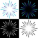 Sparkles starburst sunburst colorful logos. Vector illustration of colorful sparkles starburst sunburst logos on white background Stock Photo