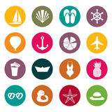 Vector illustration of colorful summer symbols ans objects Royalty Free Stock Images