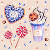 Vector illustration with colorful sweets: cake with blueberries and cream, hot chocolate with a chocolate cookies, red-white vector illustration
