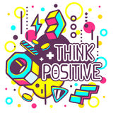 Vector illustration of colorful think positive quote Stock Photo