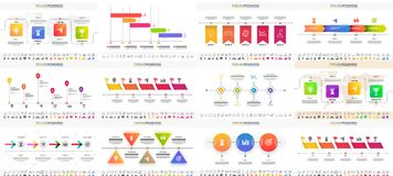 Vector illustration of colorful Timeline Infographic set can be. Used for workflow layout, presentation banner Stock Photo