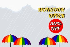 Vector illustration of colorful umbrella in rainy season. There are word `Monsoon offer 50% off`, use for web banner, poster or fl. Yer. Picture with copy space Royalty Free Stock Images