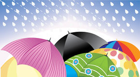 vector illustration of colorful umbrella, umbrellas at rain, autumn season Stock Photo