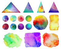 Vector illustration. . Colorful watercolor splashes isolated on white background. Rainbow blots. Hand drawn geometric. Elements. Bright and teen. Brush paint Stock Images