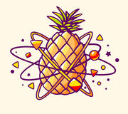 Vector illustration of colorful yellow pineapple with elements a. Nd particles on light background. Hand draw line art design for web, site, advertising, banner Stock Images