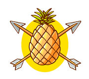 Vector illustration of colorful yellow pineapple pierced by two Stock Photos