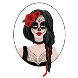 Vector illustration colorful young woman with flower in hair and makeup in Halloween style. Beautiful dead girl with stock illustration