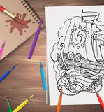 Vector illustration of coloring adults ship Stock Photos