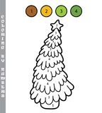 Christmas tree coloring by numbers Royalty Free Stock Photo