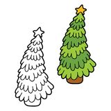 Christmas tree coloring with example Stock Photos