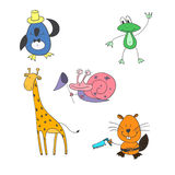 Vector illustration coloring page of cartoon , penguin, giraffe, snail, beaver Royalty Free Stock Photos