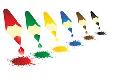 Vector illustration colour pencils with blots Royalty Free Stock Photo