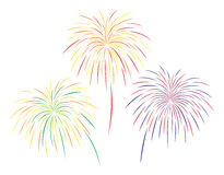 Vector illustration of colourful fireworks set. On white background Royalty Free Stock Image