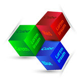 Vector Illustration of colourful and mono-chromatic 3d cubes with white background Royalty Free Stock Photography