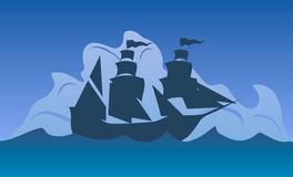 Vector Illustration. Columbus Day. Silhouette Of A Ship At Sea. Royalty Free Stock Photos