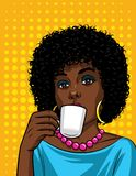 Vector illustration in comic art style of  beautiful african american woman with cup of coffee. Fashionable lady drinking a coffee over halftone dot background Royalty Free Stock Photos