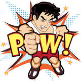 Fighter punch character. Vector illustration of a comic book-like fighter character Royalty Free Stock Photography