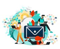 Vector Illustration of Communication and Internet, Group of People who Communicating, Learning and Working With Each Other. Young. People Using Email and royalty free illustration