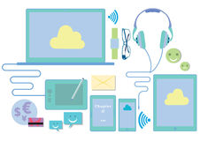 Vector Illustration Of Communication Technology Devices Stock Photos