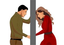 Of the complex relationship between husband and wife. They stand outside the door royalty free illustration