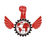 Vector illustration composed with industrial gear, raised clench. Ed fist and Earth globe. Proletarian leader abstract vector illustration, social revolution royalty free illustration