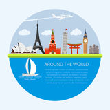 Vector illustration composition with world famous landmarks Stock Photography