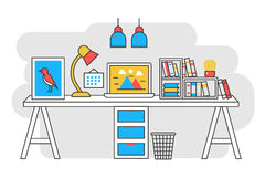 Vector illustration of a computer placed on an office desk. Flat color line style. royalty free illustration