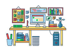 Vector illustration of a computer placed on an office desk. Room table flat color line style. Royalty Free Stock Photos