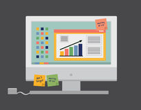 Vector illustration. Computer with statistical business data Stock Photo