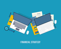 Vector illustration concept of analyzing project Stock Image