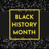 Vector illustration concept for Black history month. Vector illustration background concept for Black history month. Yellow frame for text, black pattern stock illustration