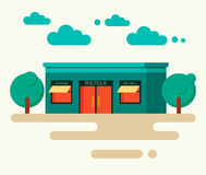 Vector illustration concept of boutique in trendy. Vector illustration concept of new store in trendy flat design style. Modern flat design facade of store Royalty Free Stock Image