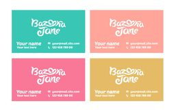 Vector illustration concept of business card template. Colorful on white background stock illustration