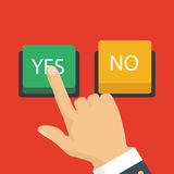 Vector illustration. The concept of choice, the right choice and. Hand, finger pressing buttons no or yes. Vector illustration. The concept of choice, the right Stock Photos
