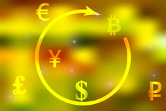 Vector illustration of a concept of currency exchange dollar, yen, pound, ruble, euro bitcoin on a bright light yellow background Royalty Free Stock Image