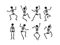 Vector hand drawn illustration concept of Dancing happy halloween skeleton royalty free illustration