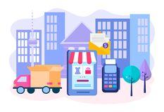 Vector illustration of the concept of delivery of goods from the online store. Order online, payment on the Internet or through the terminal upon delivery royalty free illustration