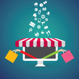 Vector illustration concept for e-commerce, online shopping Stock Photography